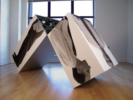 """Man's Inner Reflections,"" video sculpture by Lynn Herring."