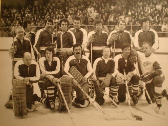 "A shot of the ""Purtan No Stars"" team in 1972. Front Row: (Left) Rip Collins, Detroit Lions Equipment man; Tom DeLisle, Mayor Gribb's Executive Assistant ( at that time); Dick Purtan, CKLW radio; Ted Pearse, TV sales; Sonny Grandelius, MSU All American and New York Giants; Gordie Howe.Second Row: Lou Schuck, Purtan's radio engineer; Bob Posch, area singer and entertainer; Tom Ryan, Purtan's producer; Kelly Burke, WXYZ News reporter,Earl Morrall, MSU All American and former Detroit Lion; Tom Kelly, Channel 2 sports anchor; Jim Davis, WXYZ radio afternoon host; Jim Price, former Detroit Tiger."
