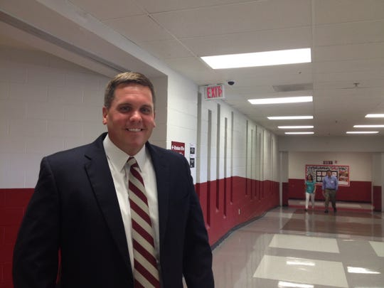Collierville High School Principal Chip Blanchard wore a tie with the school colors on Monday, the day that the school held a lunch to welcome 22 new teachers. (Photo by Daniel Connolly)
