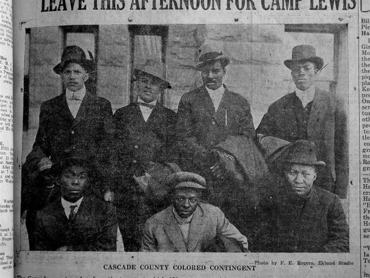 The Cascade County Colored Contingent before their departure in 1917 to fight in World War I.