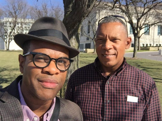 "Thomas Allen Harris and Don Perry, shown in front of the Detroit Institute of Arts, are producing of ""Family Photos: USA"" and will be leading a number of sharing events in Detroit throughout the summer."