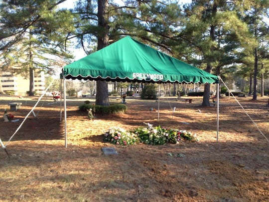 This tent at the Greenword Memorial Park Cemetery covers what once was the 17th (No. 8) green, where Jimmy McGonagill of Shreveport closed out a 2 and 1 victory Ray Bradford of Alexandria in the 1945 state amateur tournament.