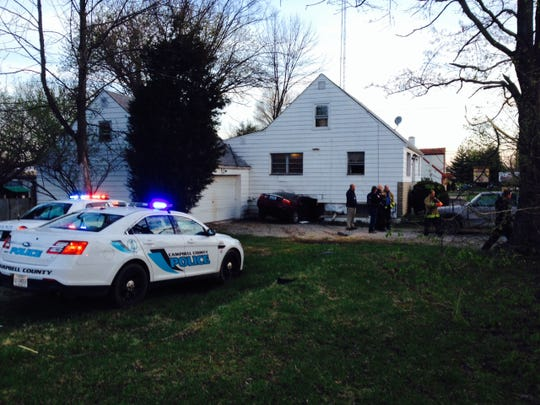 Stolen car chased by police from Campbell County crashed into a Union Township home early Friday.