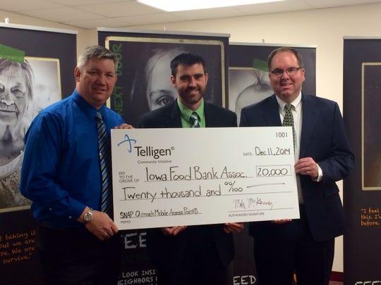 Telligen Community Initiative has awarded $20,000 to the Iowa Food Bank Association.