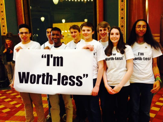 Davenport students protest the state's funding formula at the Iowa's Capitol