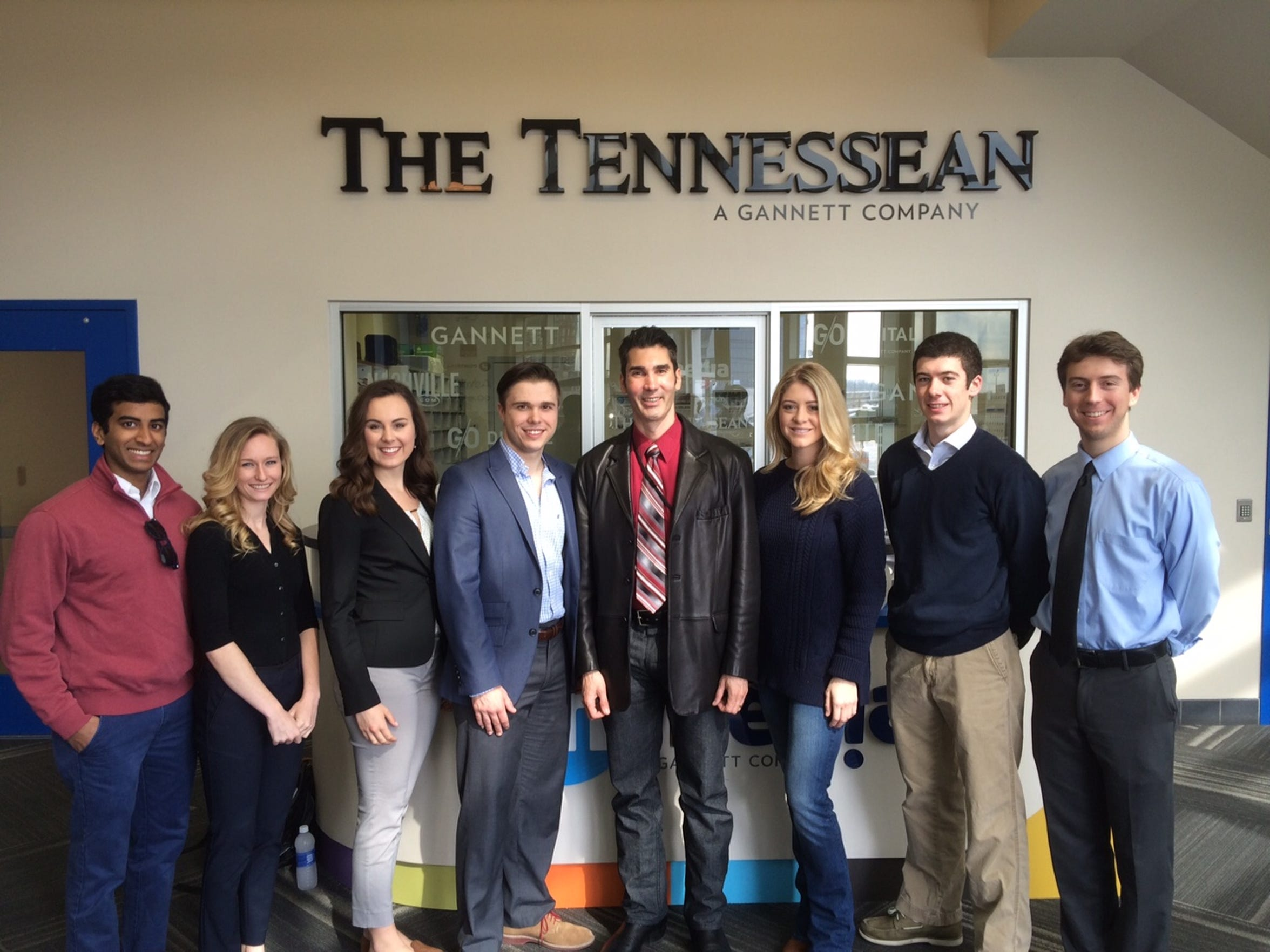 Seven Belmont University students are reporting on the Nashville mayor's race with The Tennessean. At center, Tennessean Opinion Engagement Editor David Plazas.
