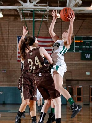Williamston's Maddie Watters, right, shoots over Holt's Lia Anderson (24).