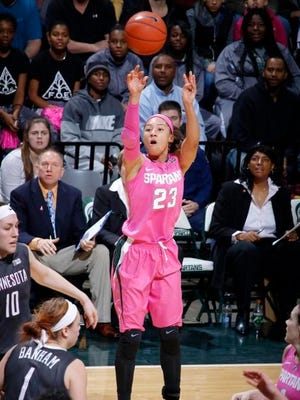 Michigan State's Aerial Powers shoots against Minnesota Sunday in East Lansing. Michigan State won 114-106.