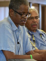 Civil rights activist Alvin Sykes and Emmett Till's cousin, Wheeler Parker, spoke to educators last month at the Tallahatchie County Courthouse in Sumner, where Roy Bryant and his half-brother, J.W. Milam, were tried and acquitted of murder in the slaying of 14-year-old Till in 1955.