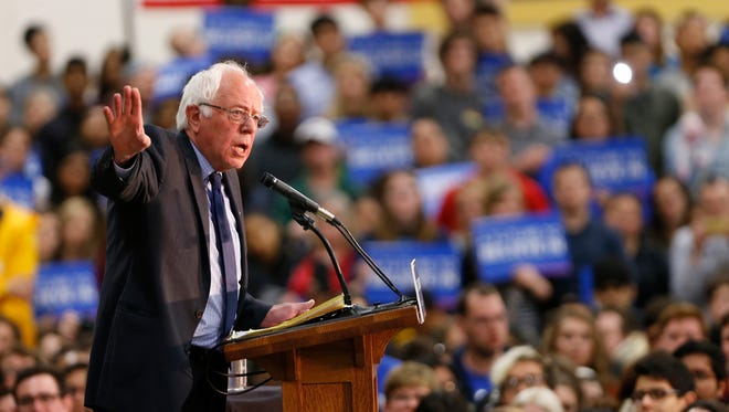 Democrat Presidential candidate Bernie Sanders addresses his supporters during a town hall meeting Wednesday, April 27, 2016, in the France A. Cordova Recreational Sports Center on the campus of Purdue University. Sanders said he wants to change the status quo.