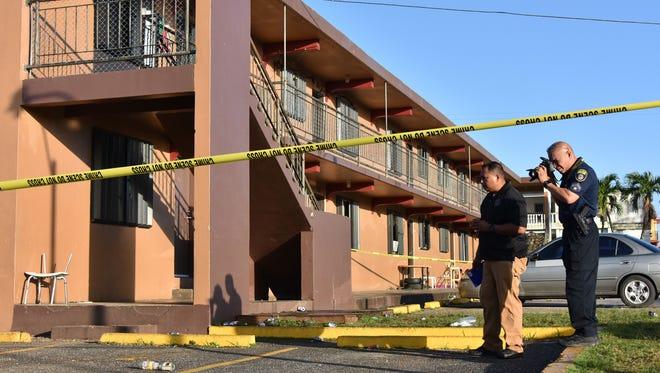 Police investigate a fatal stabbing at the Hemlani's Harmon Apartments on Jan. 2, 2017. Bernard Kirielmo Jr., 20, was brought to Guam Regional Medical City at 3:21 a.m., and was pronounced dead at 3:40 a.m., hospital spokesman Kevin Kerrigan said.