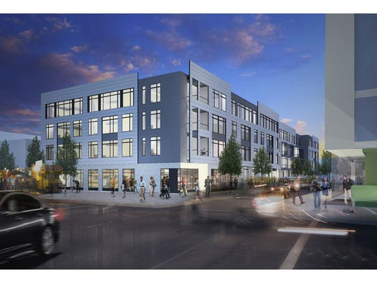 A rendering of the apartment complex planned at Duveneck Square in Covington
