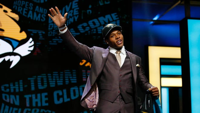 Jalen Ramsey (Florida State) is selected by the Jacksonville Jaguars as the number five overall pick in the first round of the 2016 NFL Draft at Auditorium Theatre.