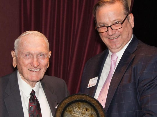 "Rev. William ""Wishy"" Nolan receives the 2018 George D. Nelson Sr. Award for Lifetime Service to Centenary College."