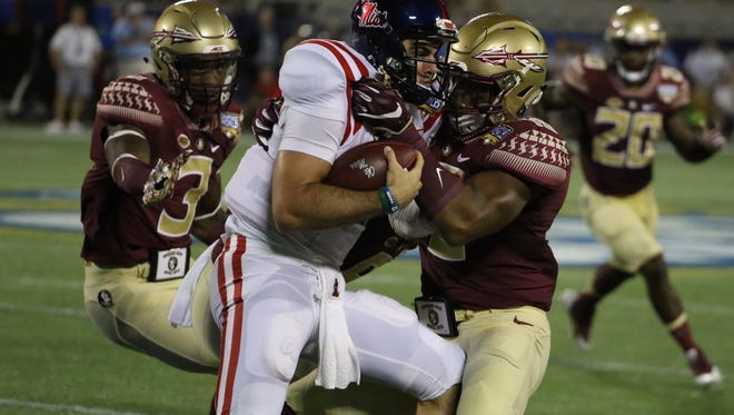 Chad Kelly has three touchdowns in the first half of FSU vs. Ole Miss.