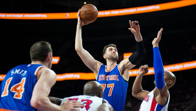 New York Knicks center Andrea Bargnani shoots during the second quarter.
