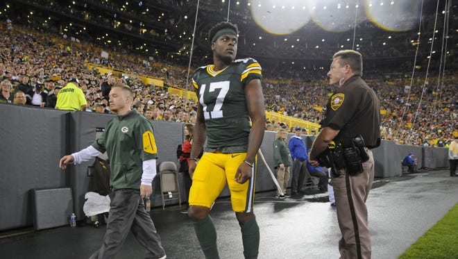 Green Bay Packers wide receiver Davante Adams (17) leaves the field during the game against the Kansas City Chiefs at Lambeau Field.