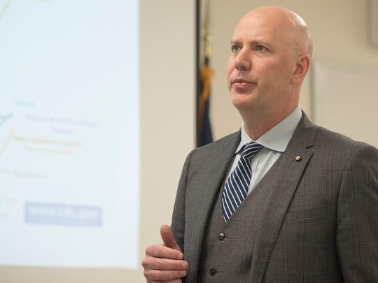 District Attorney Matt Fogal lead a press conference