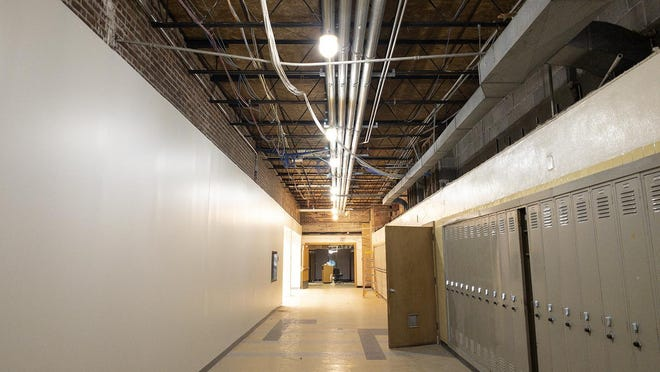 """The remodeled """"band entrance"""" hallway at Galesburg High School."""