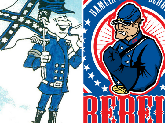 Hamlin Middle School's Rebel mascot renditions for 1996 and 2012.