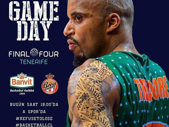 Jordan Theodore on a promotion for a Banvit game.