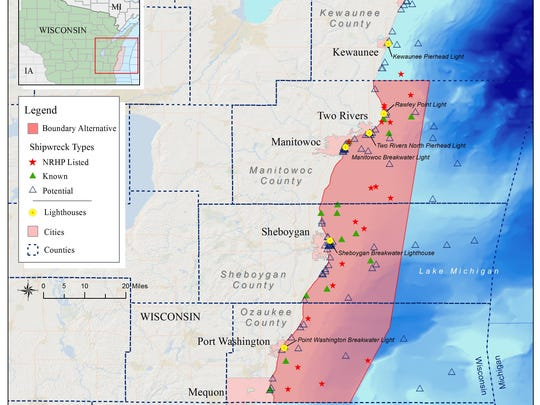 NOAA's preferred alternative for a Wisconsin-Lake Michigan National Marine Sanctuary encompasses 1,075 square miles, 37 shipwrecks and 80 potential shipwrecks.