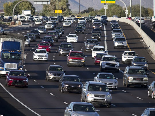 Rush hour traffic on Loop 101 in Scottsdale in 2016. Among a list of infrastructure projects the city is looking to fund is improvements to the Loop 101-Hayden Road interchange.