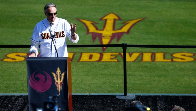 Former Arizona State athletic director Steve Patterson in April 2013.