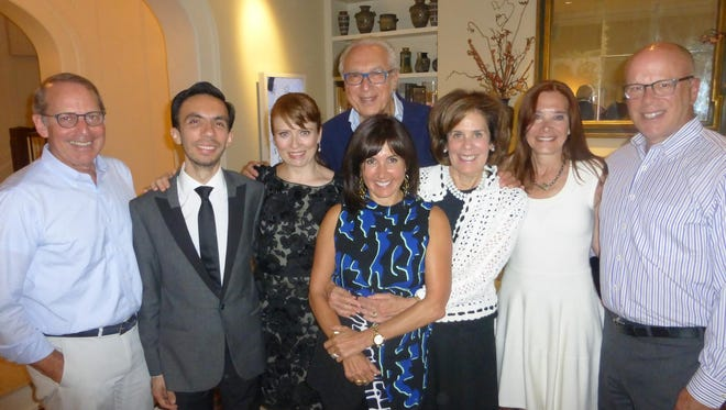Event host Rob Orley of Franklin, music director Ryan Shirar from New York, Cabaret 313 star Maxine Linehan, also from NYC; Cabaret 313 managing producer Allan Nachman and his wife Joy; event host Marcie Orley of Franklin; and Cabaret 313 executive director Sandi Reitelman and her husband Claude.