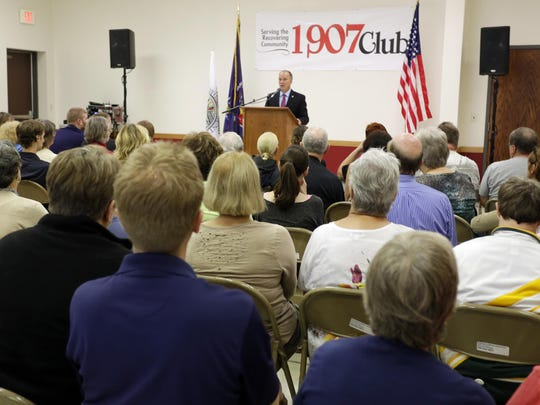 State Attorney General Brad Schimel speaks on issues involved in substance abuse during a visit to the 1907 Club in Sheboygan on Saturday.