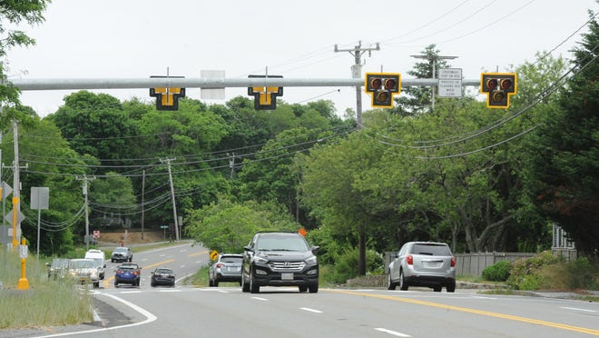 A high-intensity activated crosswalk  beacon has been installed at the intersection of Route 6 and Governor Prence Road to allow pedestrians and bicyclists looking to cross the highway to stop traffic.
