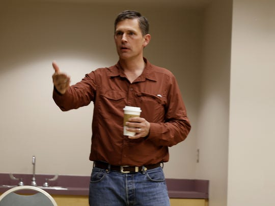U.S. Sen. Martin Heinrich, D-N.M., talks about outdoor recreation Wednesday during a  meeting at the Farmington Museum at Gateway Park.