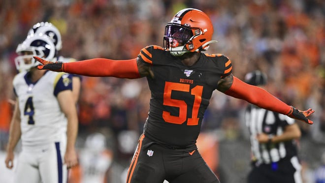 Browns linebacker Mack Wilson reacts to a missed field goal by Los Angeles Rams kicker Greg Zuerlein, left, during a game last September in Cleveland.