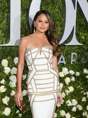 Chrissy Teigen opts for flowing long locks as well for the 2017 Tony Awards in June in New York.