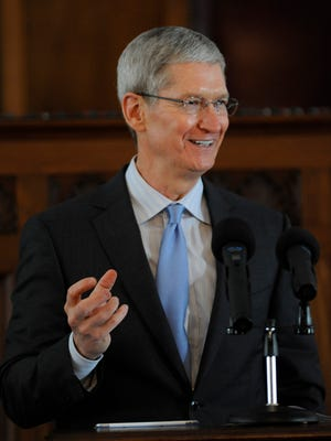 Apple CEO Tim Cook speaks at the induction ceremony for the Alabama Academy of Honor at the state capitol building in Montgomery, Ala. on Monday October 27  2014.