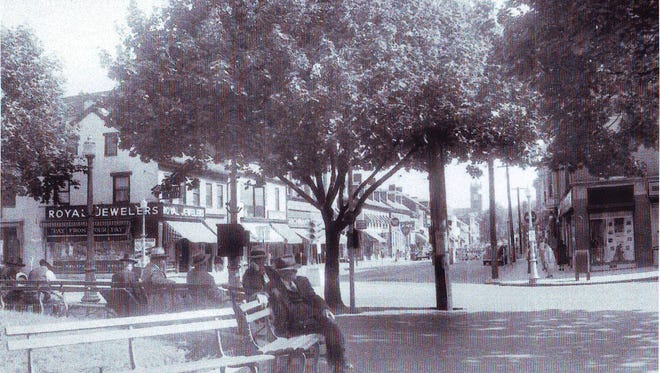 An early photo of Hanover's Center Square during an unknown date.  Courtesy of Hanover Area Historical Society