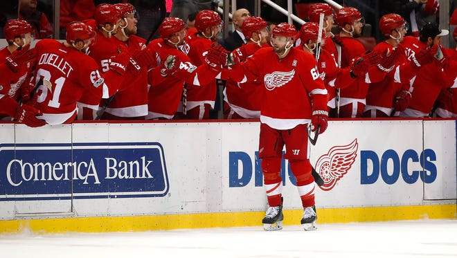 Thomas Vanek of the Detroit Red Wings celebrates his goal with teammates against the Montreal Canadiens on Jan. 16, 2017, in Detroit.