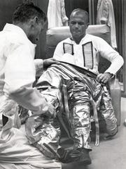 Following suborbital flights by Shepard and Virgil (Gus) Grissom, John Glenn, a 40-year-old Marine pilot, became the first American to orbit the Earth. During his five-hour, three-orbit flight on Feb. 20, 1962, Glenn flew his Friendship 7 capsule by hand when a control jet clogged. Then the nation held its breath when a faulty switch indicated the heat shield might come off during re-entry. But Glenn landed safely.