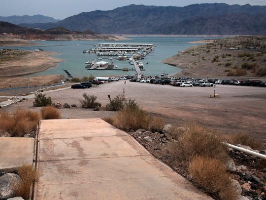 The marina at Callville Bay has had to be moved repeatedly as the level of Lake Mead has dropped. Photo taken on May 23 near the marina's administration building, where the water level stood when the reservoir was nearly full in 2000.