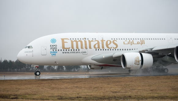 "Emirates' Airbus A380 ""superjumbo"" is seen after landing"