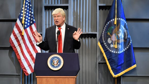 "Alec Baldwin plays President Donald J. Trump on ""Saturday Night Live"" on Oct. 14, 2017."