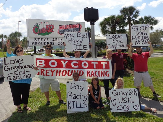Space Coast Animal Rights protesters demonstrated Feb. 25 in front of Melbourne Greyhound Park.