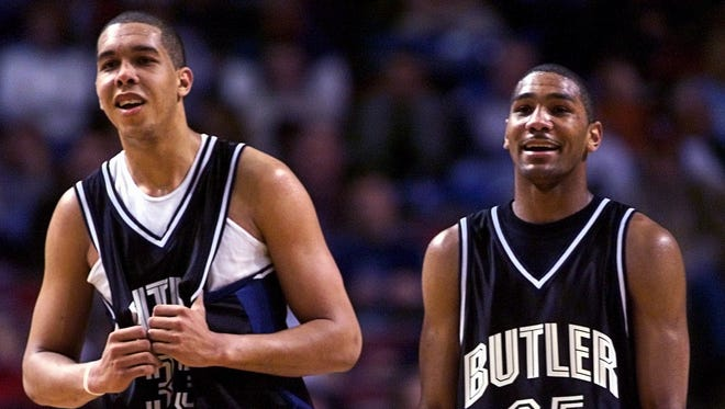 3/16/01.  Butler's Joel Cornette left and LaVall Jordan share a smile near the end of the destruction of Wake Forest.  Butler won 79-63.  NCAA first Round action Kemper Arena Kansas City.  (Robert Scheer Photo) w/story file 57247.
