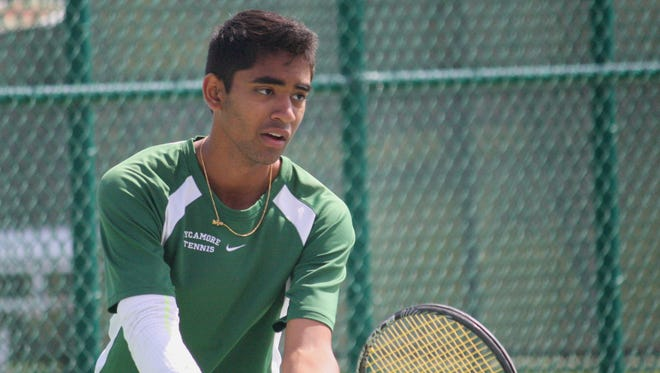 Sycamore's Deepak Indrakanti ready to serve in the Division I sectional tournament May 14 at Mason Middle School.