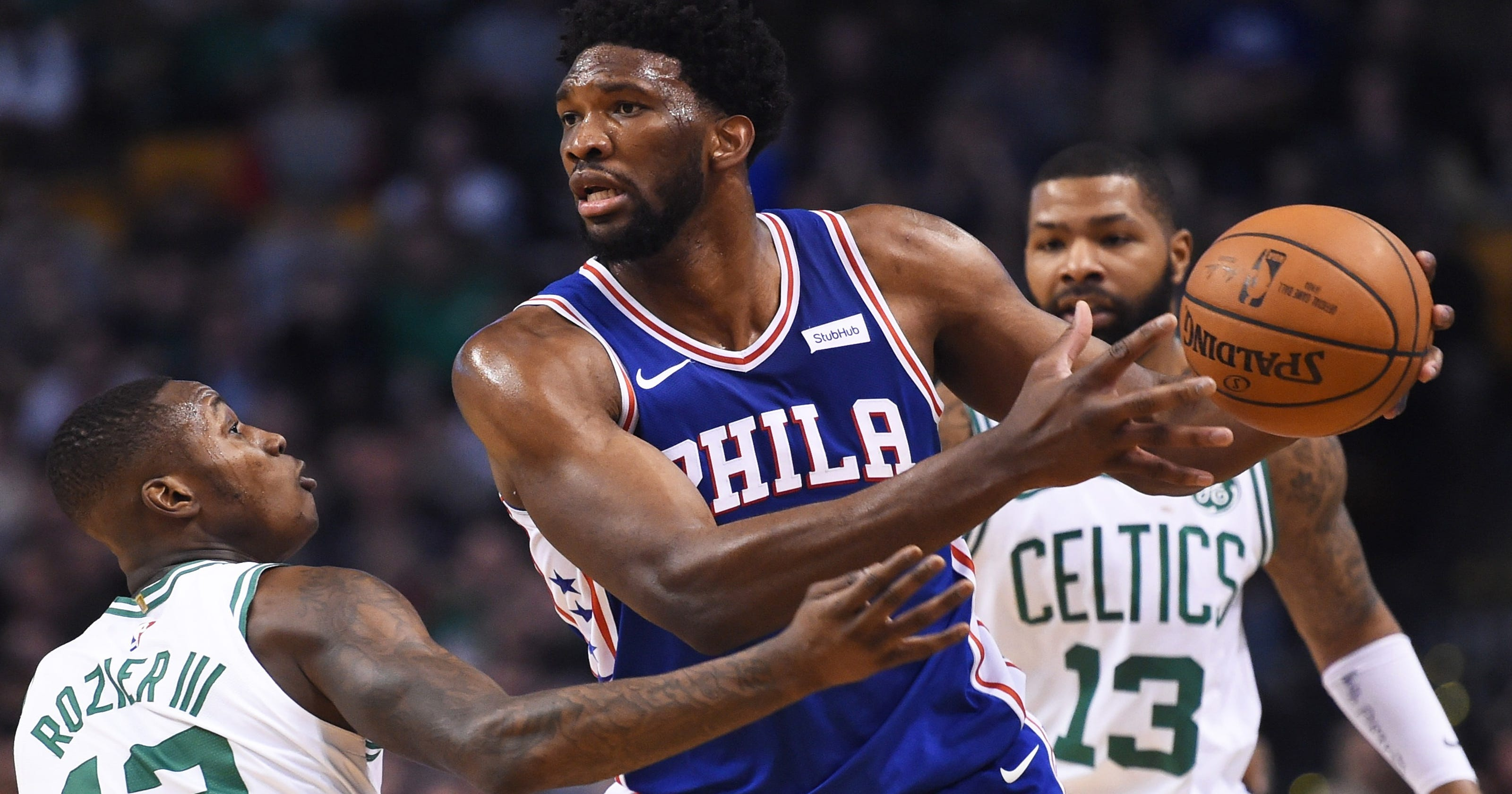 4220bffbb4a Joel Embiid leads 76ers past Celtics after All-Star nod