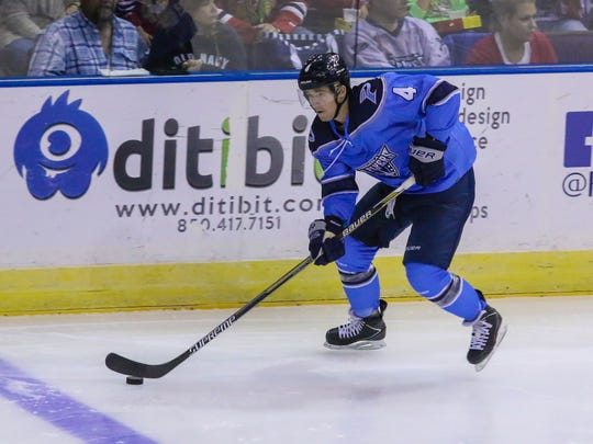 Pensacola's Brad Bourke (4) skates past the Ice Flyers blue line into center ice against the Columbus Cottonmouths Sunday afternoon at the Pensacola Bay Center.