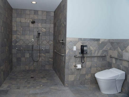 A view of the master bathroom in former Army Staff