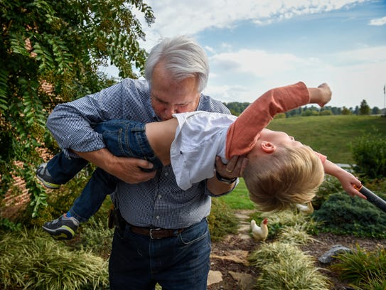 Lt. Gov. Ron Ramsey plays with his 3-year-old grandson,