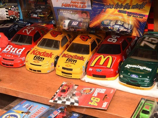 A view of some toy cars, part of Donna Brunow's NASCAR