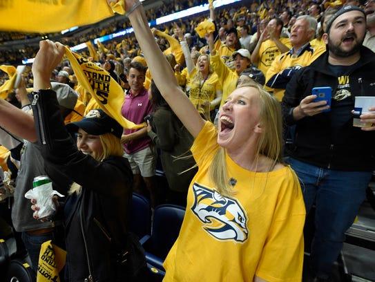 Fans celebrate the goal by Nashville Predators defenseman